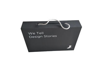 Black Paperboard Folding Packaging Boxes Logo Custom Dengan Tali Tarik Dilipat
