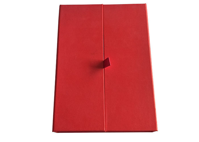 Cap Top Red Book Shaped Box, Magnetic Flap Box Dengan 2cm Width Satin Tape pemasok